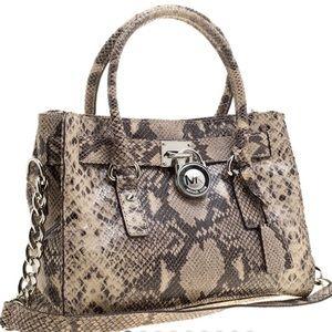 Michael Kors Python Embossed Leather Hamilton Bag